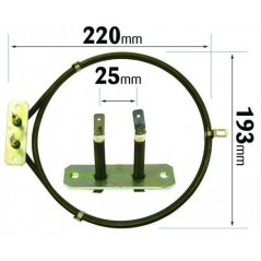 Whirlpool Fan Oven Element ELE2075 Made by Qualtex